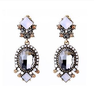 Jhinuq Black and White Geometric Crystal Earrings For Women