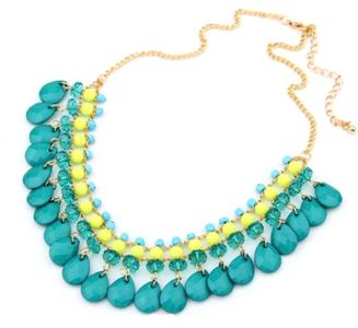 Jhinuq Blue and Yellow  Bohemia  Link Chain Necklace