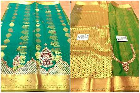 Fancy handloom kanchi wedding pattu saree.. Embroidery and stone work ... body full design.. Ruch stone work pallu.. with blouse contrast... (aari embroidery work neck and hand design  work) fabric dana ark silk yarn karishma