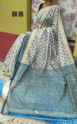 Bengal Handloom silk  cotton material   , Hand Block print job work done, all with BP Price  shipping  free
