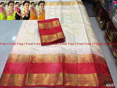 Combo offer One soft shiny tussar silk saree with 3 soft silk cotton saree with Desiner blouse    special offer price is 1550+$ only   Limited edition Hurry up🏃♀🏃