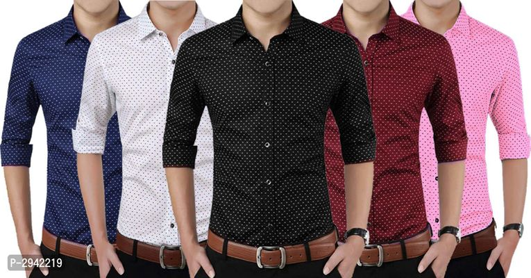 Men's Printed Cotton Blend Full Sleeve Casual Shirt Pack Of 5 Pack Of 5