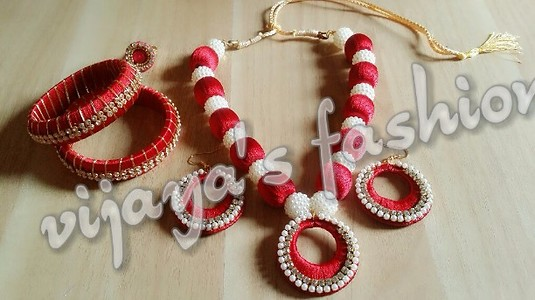 red silk thread beads with designer pearls
