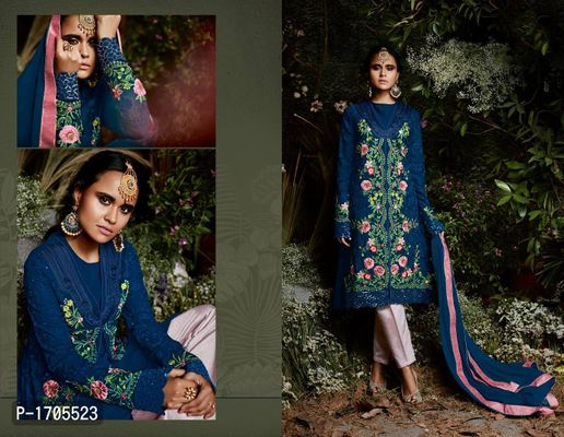 Blue Embroidered Georgette  Salwar Suits