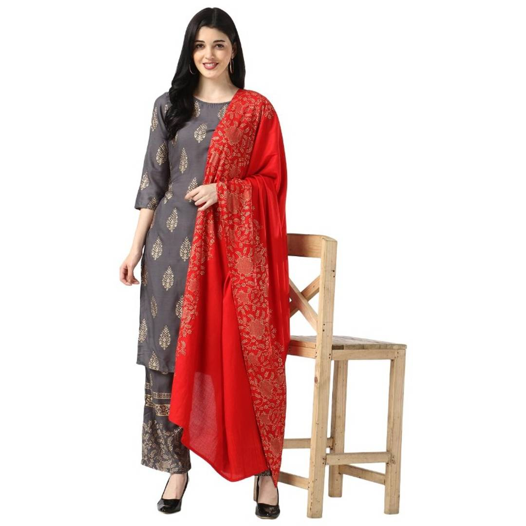 Details about  /Beautiful Indian Ethnic Women/'s Gold Print Rayon Traditional Kurti With Jacket