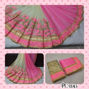 Fancy  Net Saree with  two  colours pink and blue