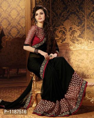 Georgette Designer Black Color Party Wear Saree