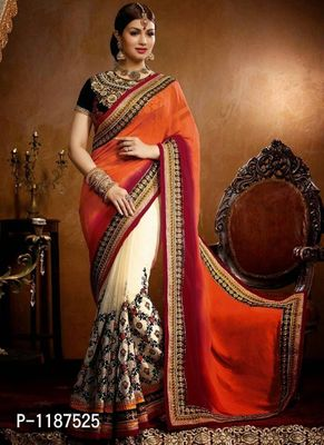 Embroidered  Multi Work Orange And White Color Party Wear Saree