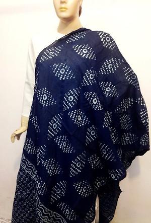 Handblock indigo cotton dupatta