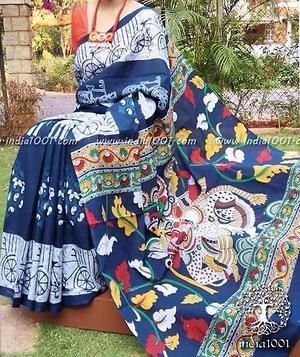 Hand block printed kalamkari pallu cotton saree