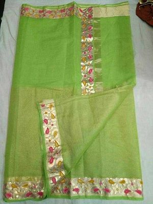 Kota Doria Cotton Half part Tissue saree with Fine Gotta patti & Aari work...  Blouse: Work on Sleevs