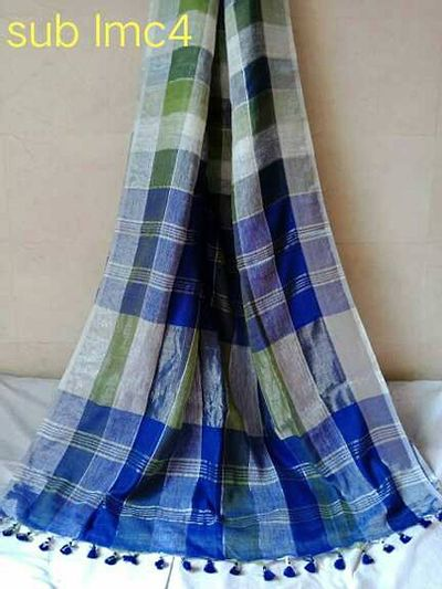 SUB PURE LINEN CHECKS COLLECTION   Most Wanted  Premium quality (100 count) Multi Colours Zari Checks Linen Saree with blouse pc 🎁🎁  We used tested Quality Zari  Very Limited  s