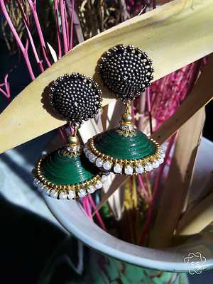 Green Quilled jhumka with metal stud