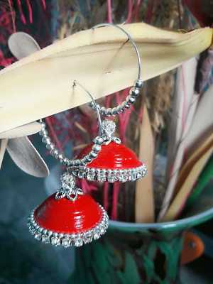 Red Quilled handmade jhumka