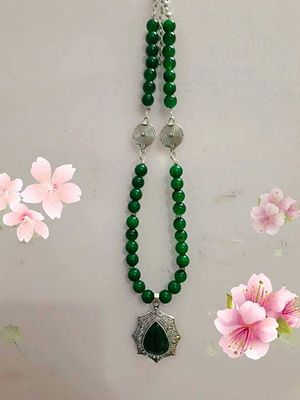 Glass beads peacock green necklace buy latest collections page glass bead green necklace with pendant aloadofball Choice Image