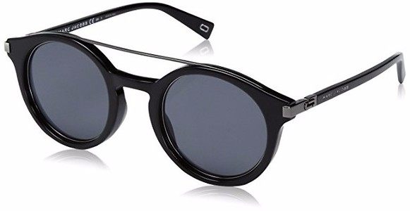Marc Jacobs Marc173s Round Sunglasses, Black Ruthenium/Gray Blue, 48 mm