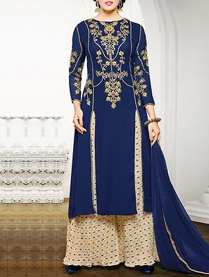 Blue Georgette Embroidered Unstitched Suit