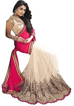 Pink Women Georgette and net Embroidered saree with Blouse Piece