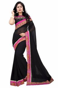 Black Georgette Women Saree with heavy Embroidered Blouse Piece