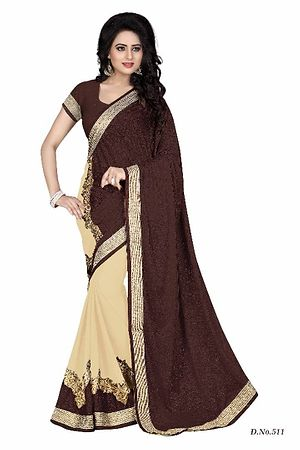 Brown Women half and half Embroidered Georgette Saree with Blouse Piece