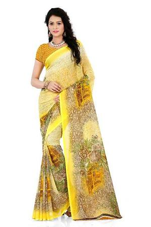 Yellow Georgette Casual Printed Saree With Blouse