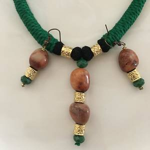 Tribal green colour necklace set with semiprecious stones