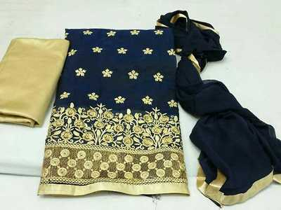 embroidered silk deess material