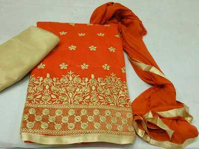 embroidered silk dress material