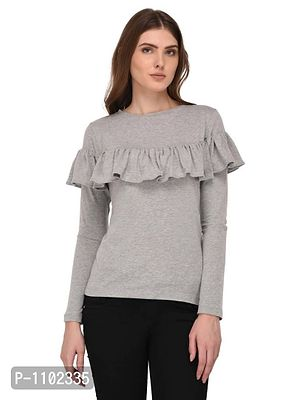 Ruffle Detailed Grey Top