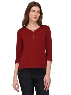 Zip Detailed Maroon V Neck Top