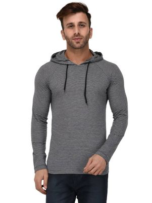 Grey-Blue Stripe Hooded Full Sleeve Slim Fit T-shirt
