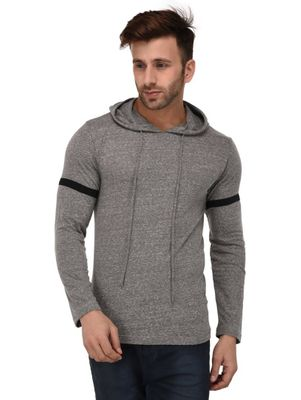 Grey Hooded Full Sleeve Slim Fit T-shirt