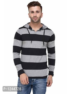 Black and Grey Striped Hooded Full Sleeve T-shirt