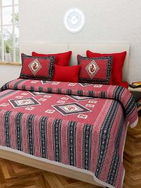 Pure Cotton Jaipuri Traditional King Size Double Bed Sheet With 2 Pillow Cover