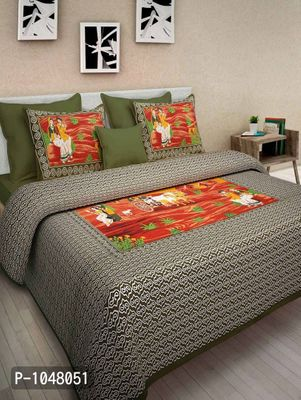 Pure Cotton  Jaipuri Traditional King Size Double BedSheet With 2 Pillow Cover