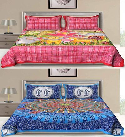 Multicoloured Ethnic Motifs King Size Set of Two Bedsheets with Four Pillowcovers