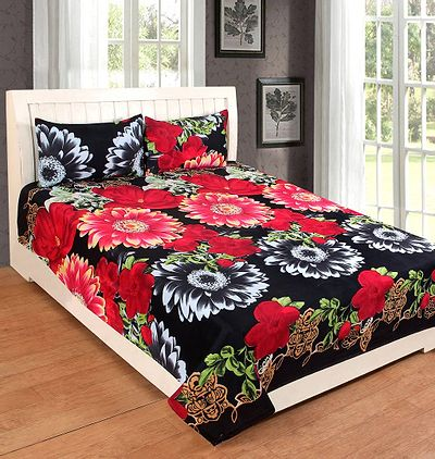 Black  Cotton Luxury Printed Queen Size Double Bedsheet  with Pillowcovers