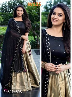 Designer Wear Gold & Black Lehenga Choli With Moti Work Dupatta