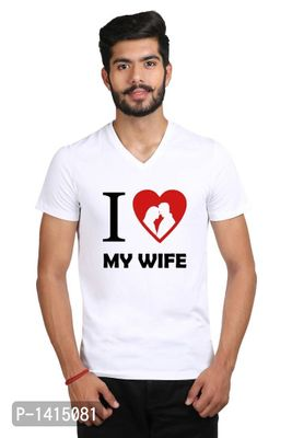 Plus Size I love my wife White Printed V-Neck Tshirt