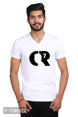 Football Cr 7 Player Face Casual Printed White Tshirt