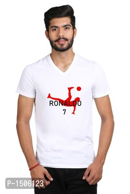 Red Football Player Casual Printed White Tshirt