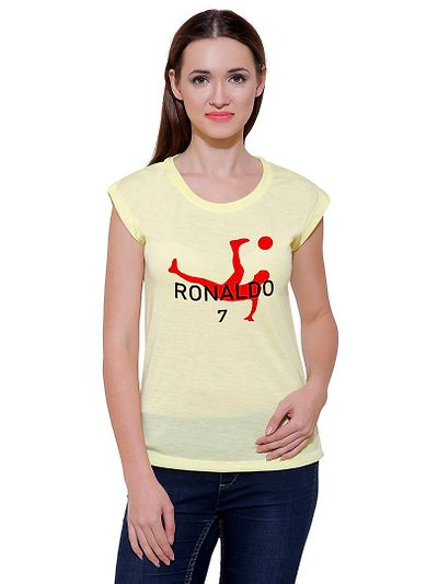 Red Football Player Casual Printed Lemon T-shirt