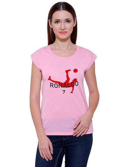 Red Football Player Casual Printed Pink T-shirt