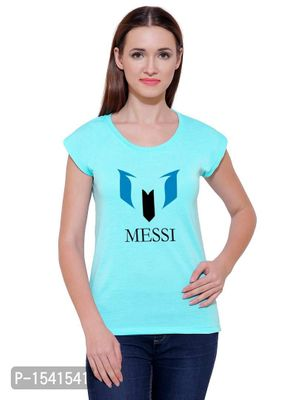 New Design For Football Lover Casual Printed Cyan T-shirt