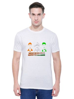 Three Legends Casual White Printed T-Shirt