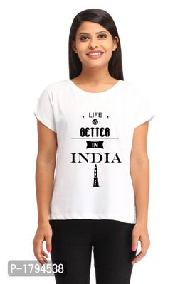 Life Better India Casual White Printed T-shirt