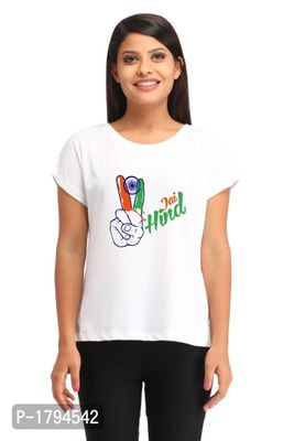 Jai Hind Two Fingers Casual White Printed T-shirt