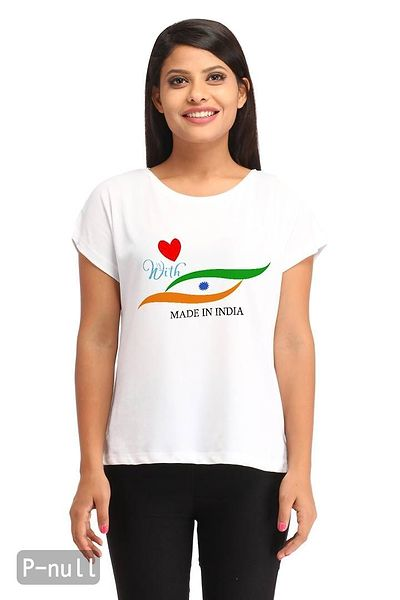Indian Love Flag Casual White Printed T-shirt