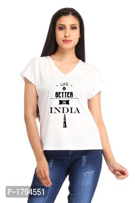 Life Better India Casual White V-neck Printed T-shirt