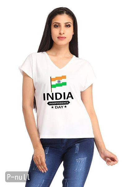 Indian Flag Casual White V-neck Printed T-shirt